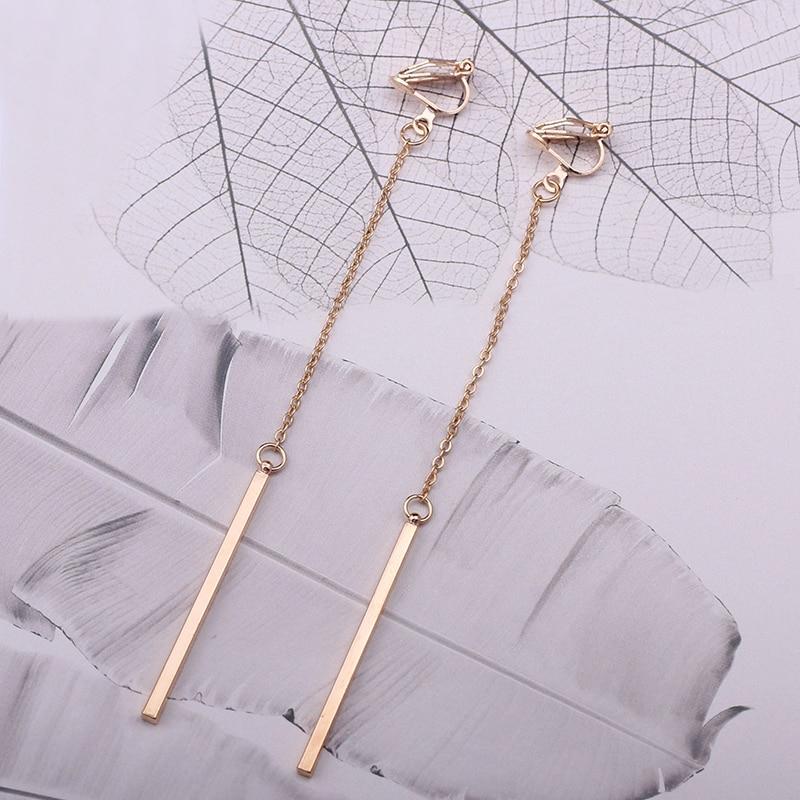 Minimalism Clip On Örhängen För Kvinnor & Tjej Mode Metall Kolumn - Märkessmycken - Foto 5