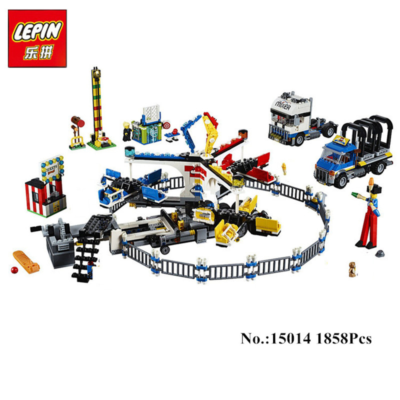 New LEPIN 15014 1858pcs Amusement park The carnival Model Bus