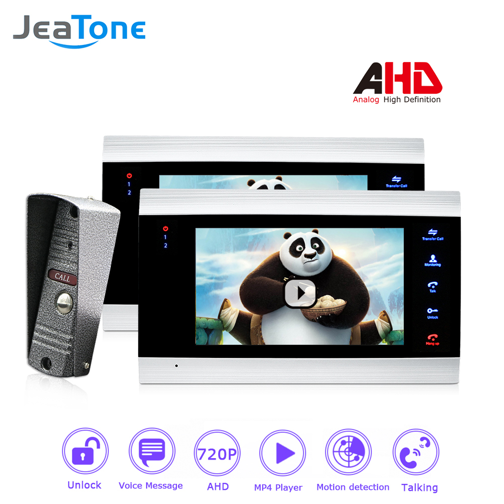 720P/AHD 7'' Video Door Phone Intercom 4 Wired DoorBell Door Speaker Security System Voice Message/Motion Detection/MP4 Player