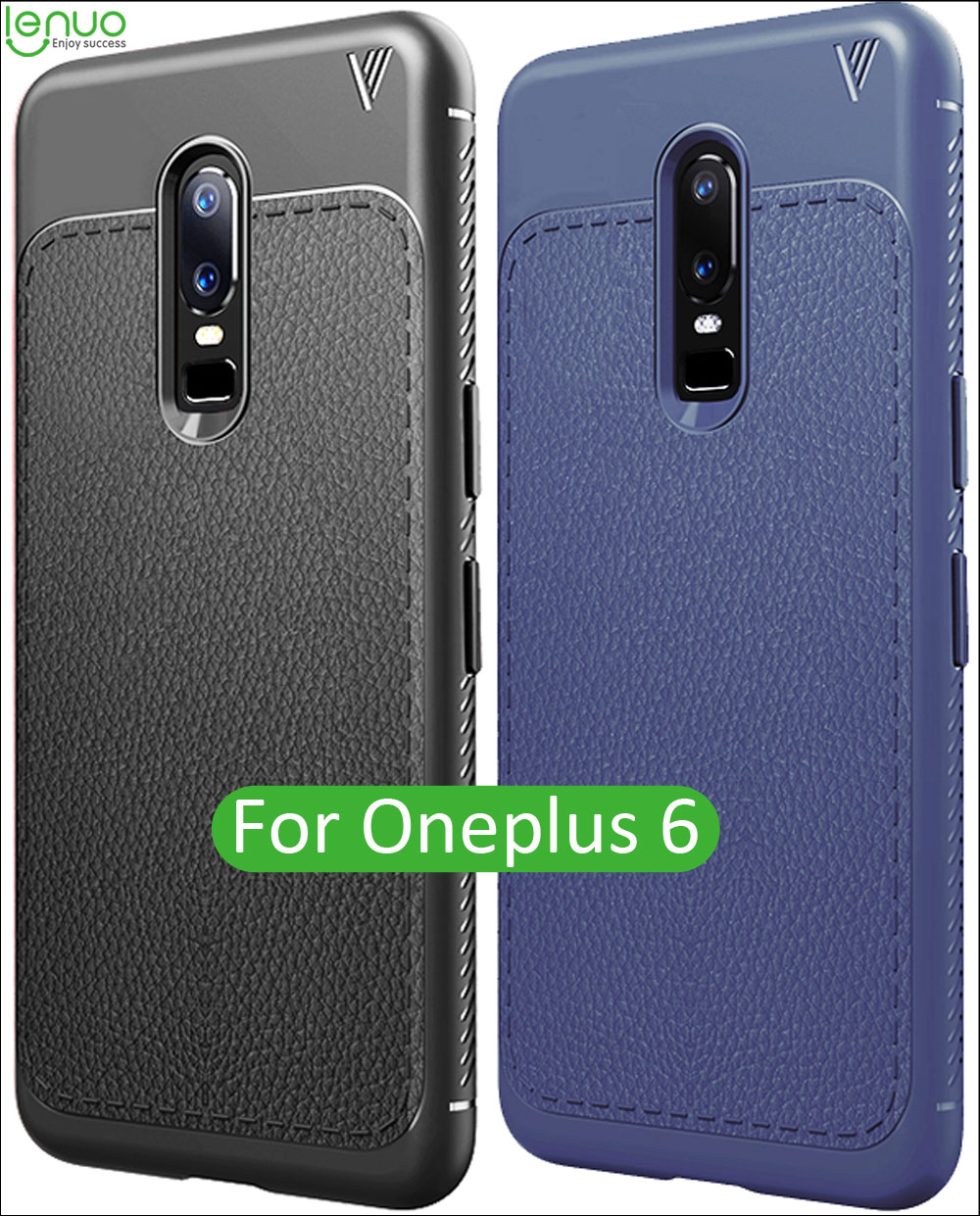 Lenuo TPU Silicone Case For Oneplus 6 Leather Lichee Pattern Matte Frosted Back Cover