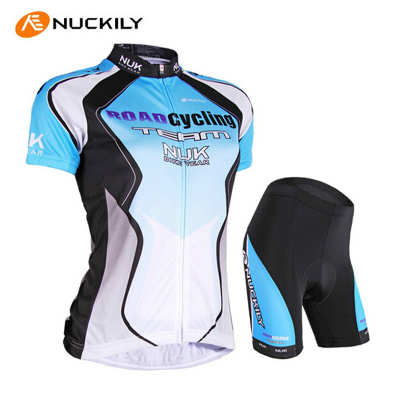 NUCKILY Summer Cycling Clothing Set Women Short Sleeve Gel Padded Shorts Pro Team Sport Suits MTB Bike Bicycle Cycling Jersey