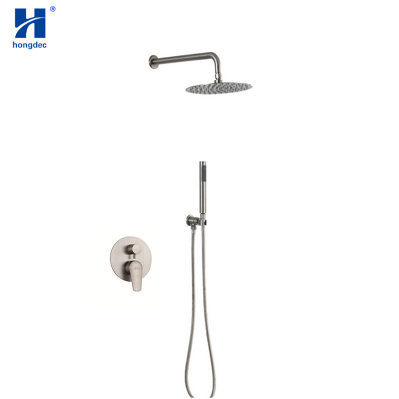 Hongdec Luxury 8 10 12 Inch Wall Mounted 304 Stainless Steel Brushed Nickel Rainfall Shower System Set