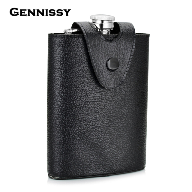 GENNISSY Removable Black Leather Holster Buckle Hip Flask 8 OZ Stainless Steel Flagons Men Portable Outdoor Whiskey Wine Bottle