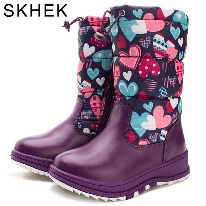SKHEK Winter Girl Plush Rubber Boots For Kids Zip Flat With Children Snow Boots Waterproof Warm Botas Purple Red