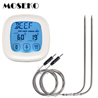 Digital Meat Thermometer Touchscreen 2 In 1 Kitchen Timer Instant Reading With Oven 2Probes Food Kitchen