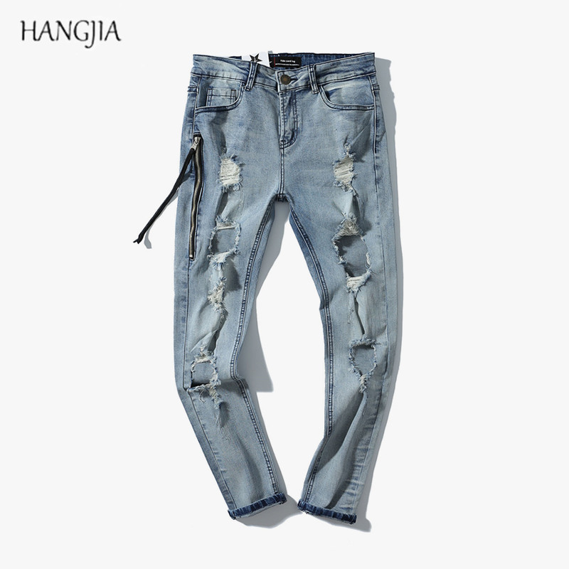 Mens Washed Destroyed Jeans 2018 High Street Distressed Ripped Biker Skinny Denim Pants Trend Soild Color Slim Fit Hole Jean
