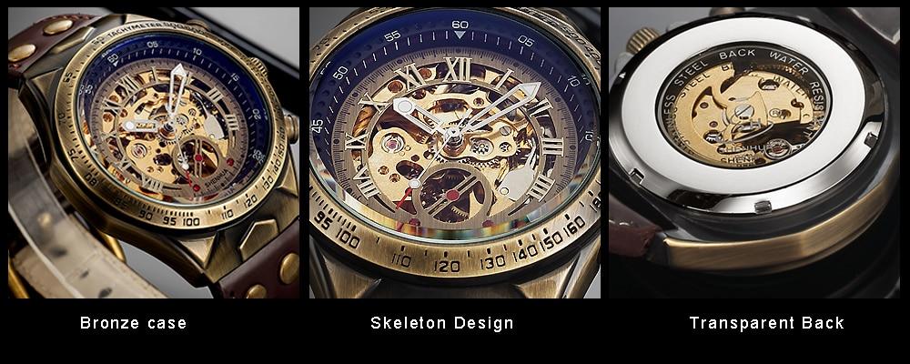HTB1Hm6sQPTpK1RjSZKPq6y3UpXap Steampunk Bronze Automatic Watch Men Mechanical Watches Vintage Retro Leather Transparent Skeleton Watch Man Clock montre homme