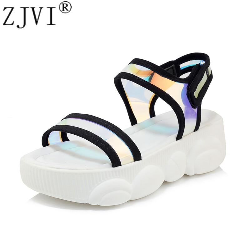 ZJVI women summer platform sandals woman fashion flats sneakers white wedges heels shoes sandalias mujer 2019 children child
