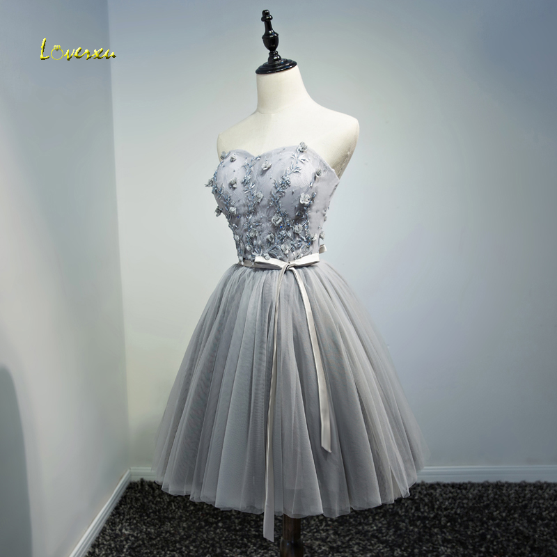 Loverxu New Design Lace Strapless Knee-Length   Cocktail     Dresses   2019 Appliques Beaded Gradution   Dress   Vestido de Festa Plus Size