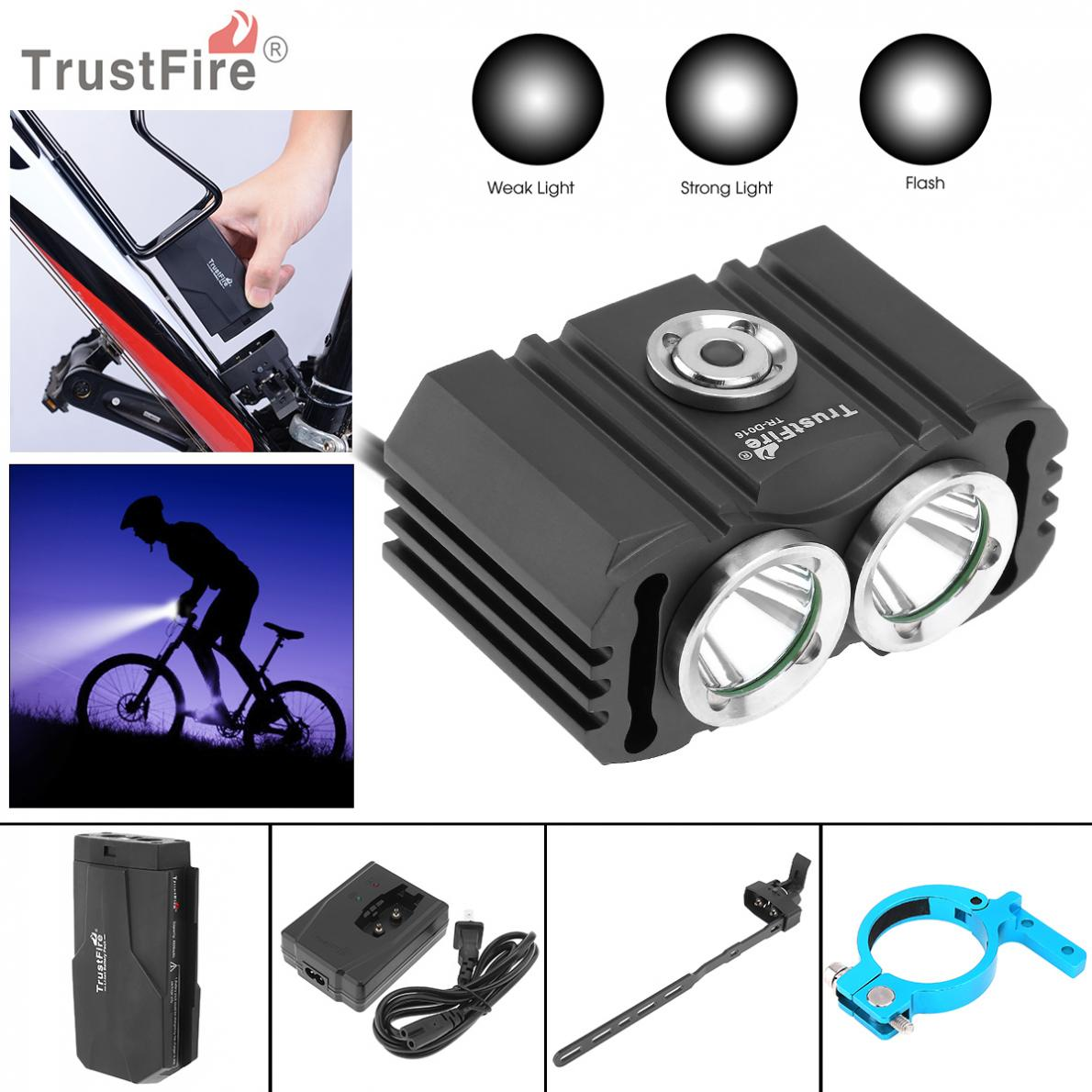 TrustFire 3 Modes D016 2x XM-L2 LED 4.2V Waterproof Bicycle Head Light with 6200mAh Battery Pack Kits Special for Bicycle Light trustfire tr d017 usb bike light 2000 lumens 3 mode xm l l2 led bicycle front light with battery pack for cycling