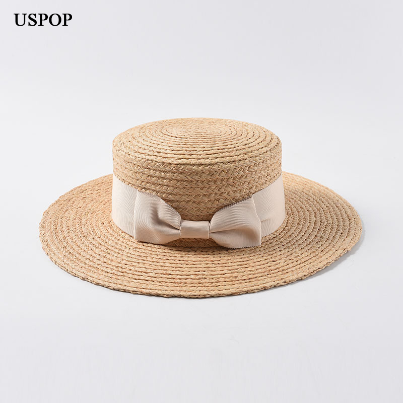 USPOP 2019 New women raffia straw hat female natural straw sun hats casual bow knot flat top hat summer wide brim beach hat in Women 39 s Sun Hats from Apparel Accessories