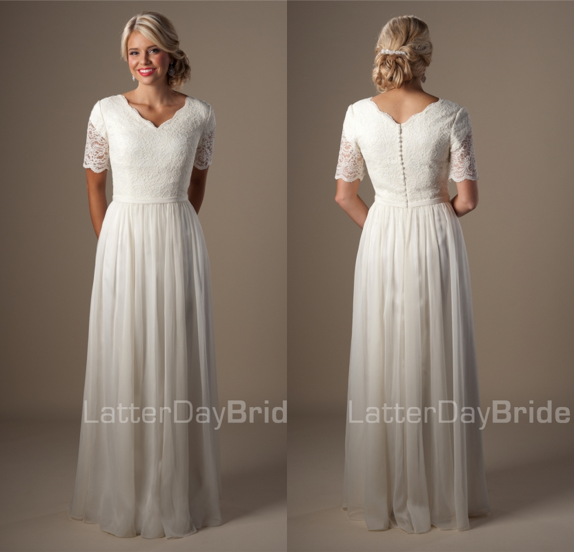 Informal Wedding Gowns: Vintage Ivory Lace Chiffon Modest Wedding Dresses With
