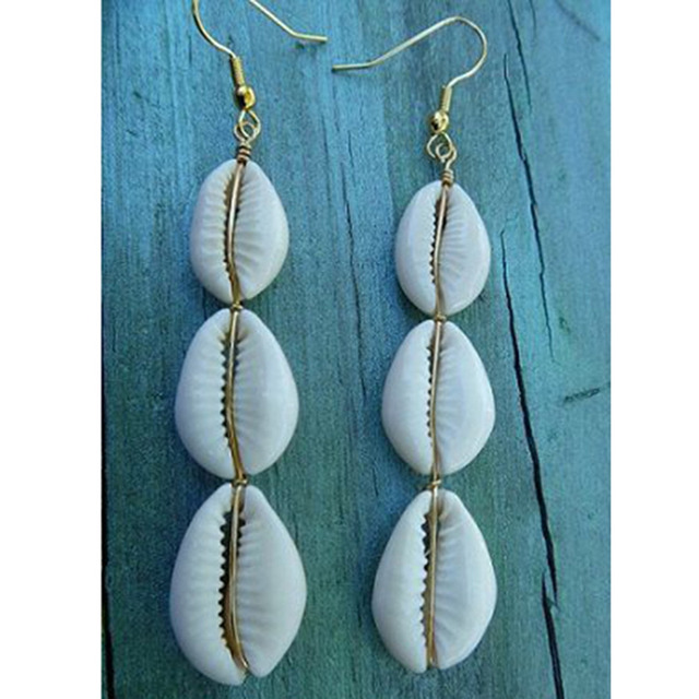 2018 Hot Sale Womens Natural Cowrie Shell drop earrings Silver Plated Pretty Gif