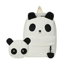2 teile/satz Weiß Leinwand Rucksack Lässig Daypack mochila Nette Mädchen Anime 3D Panda Rucksack Rucksack Schultasche Für Mädchen C3319