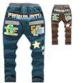 2016 Джинсы дети толстые теплые зимние брюки для мальчиков корейский стиль хлопок повседневные брюки звезда печати марка дети мальчики джинсы