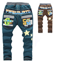 2016 Jeans children thick warm winter boys pants korean styling cotton casual trousers star print brand kids boys jeans