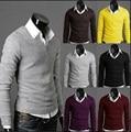 Новый 2016 весной сплошной цвет v-образным вырезом свободного покроя свитер мужчины уменьшают подходящую основной пуловеры мужчин тянуть homme размер m-2xl 7-colors / TTS1