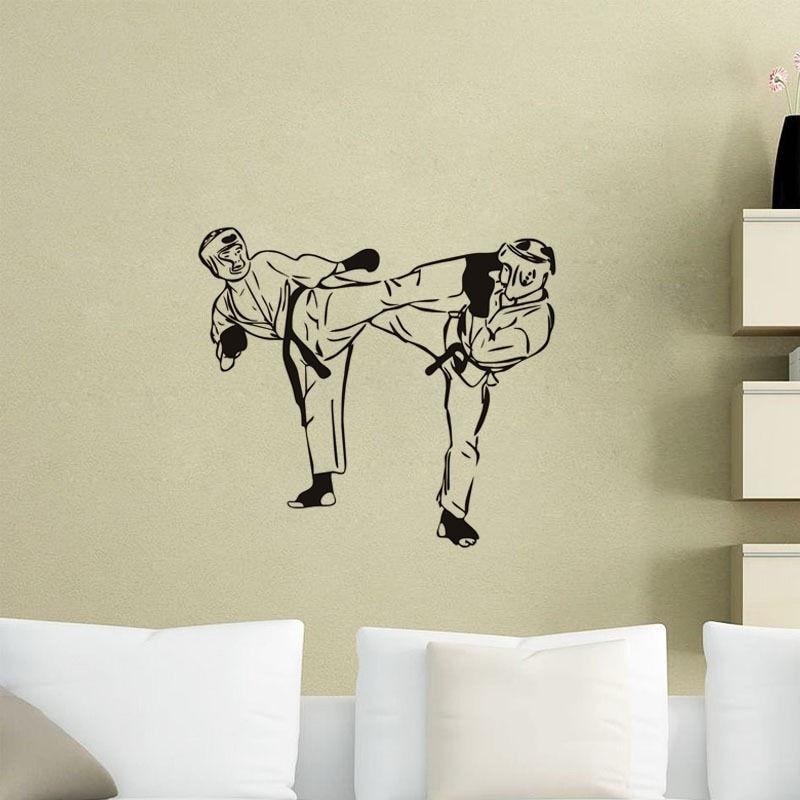 Спортивные тхэквондо на стены съемный Гостиная диван фон винил Книги по искусству Стикеры Дети Мальчики номер Декор стены Стикеры