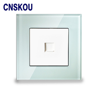 TEL Sokcet CNSKOU Smart Home Hotel White Tempered Glass Telephone Socket Jack Outlet Wall Socket
