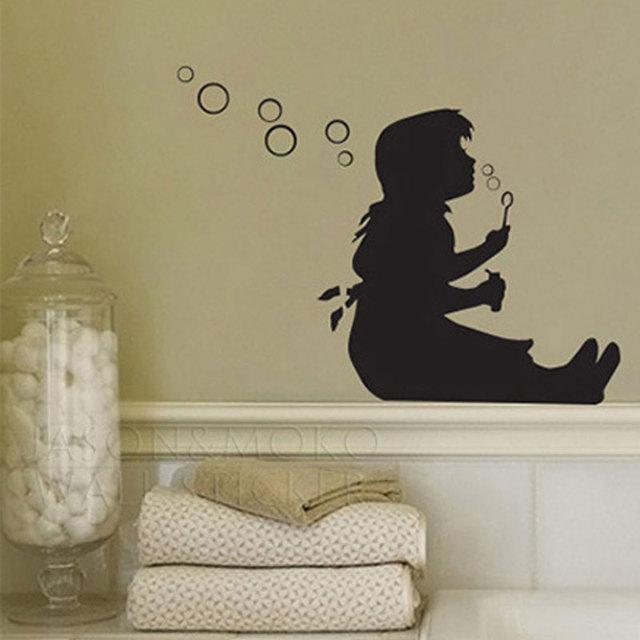 banksy design lovely little girl blowing bubbles art wall stickers