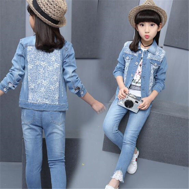 Girls Clothing Sets 2018 Autumn Spring Children Kids Girls Denim Jackets Coats Toddler Girl Jeans Pants Lace Buttons 4-15T SuitsGirls Clothing Sets 2018 Autumn Spring Children Kids Girls Denim Jackets Coats Toddler Girl Jeans Pants Lace Buttons 4-15T Suits