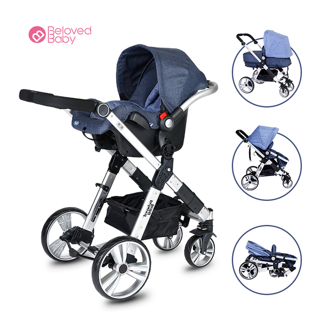 Beloved Baby one key fold baby stroller  and baby basket Aluminum alloy frame baby jogger pram SGS ECE was approved