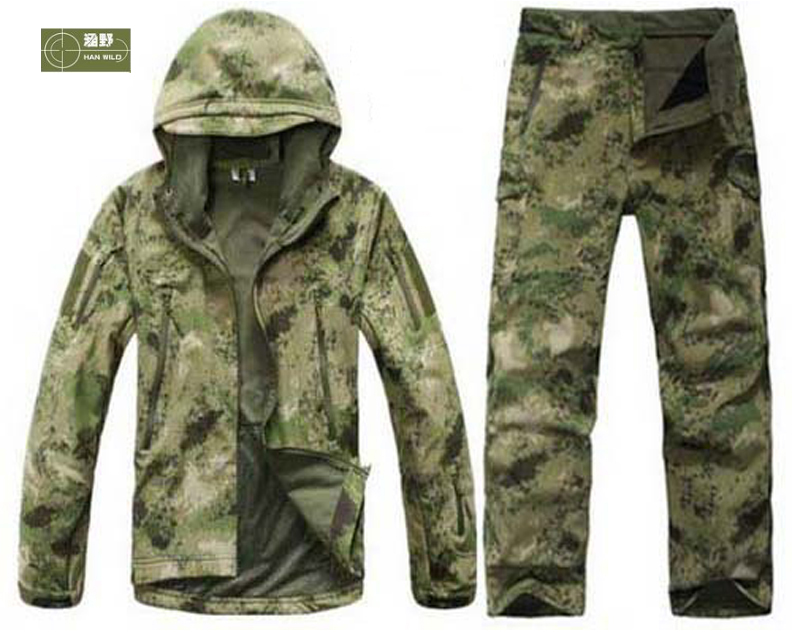 HANWILD Man Winter Waterproof Military Fishing Tactical Camouflage Hunting Jackets Outdoor SoftShell Trousers Suit Sport Army S6 цены онлайн