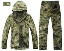 HANWILD Homme Hiver Étanche De Pêche Militaire Tactique Camouflage Chasse Vestes En Plein Air SoftShell Pantalon Costume Armée Sport S6