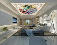 custom 3d ceiling murals Hand painted beautiful girllarge wall murals wallpaper on the ceiling 3d luxury wallpaper for bathroom