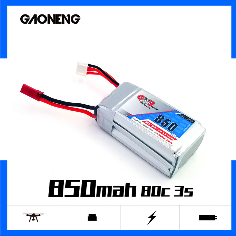 2PCS Gaoneng GNB <font><b>850mAh</b></font> <font><b>3S</b></font> 11.1V 80C/160C HV Lipo battery XT30 XT60 Plug for RC Airplane Helicopter Drone image