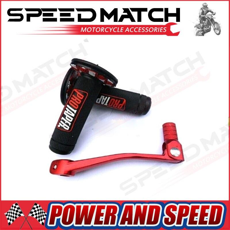 Pro taper Motorcycle Protaper Dirt Pit Bike Motocross 7/8 Handlebar Rubber Gel Hand Grips Brake Hands+ CNC shift lever