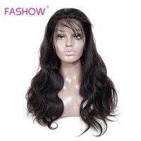 Fashow волос полный шнурок человеческих волос парики бразильской волне тела Волосы remy предварительно сорвал с ребенком волос естественной ли