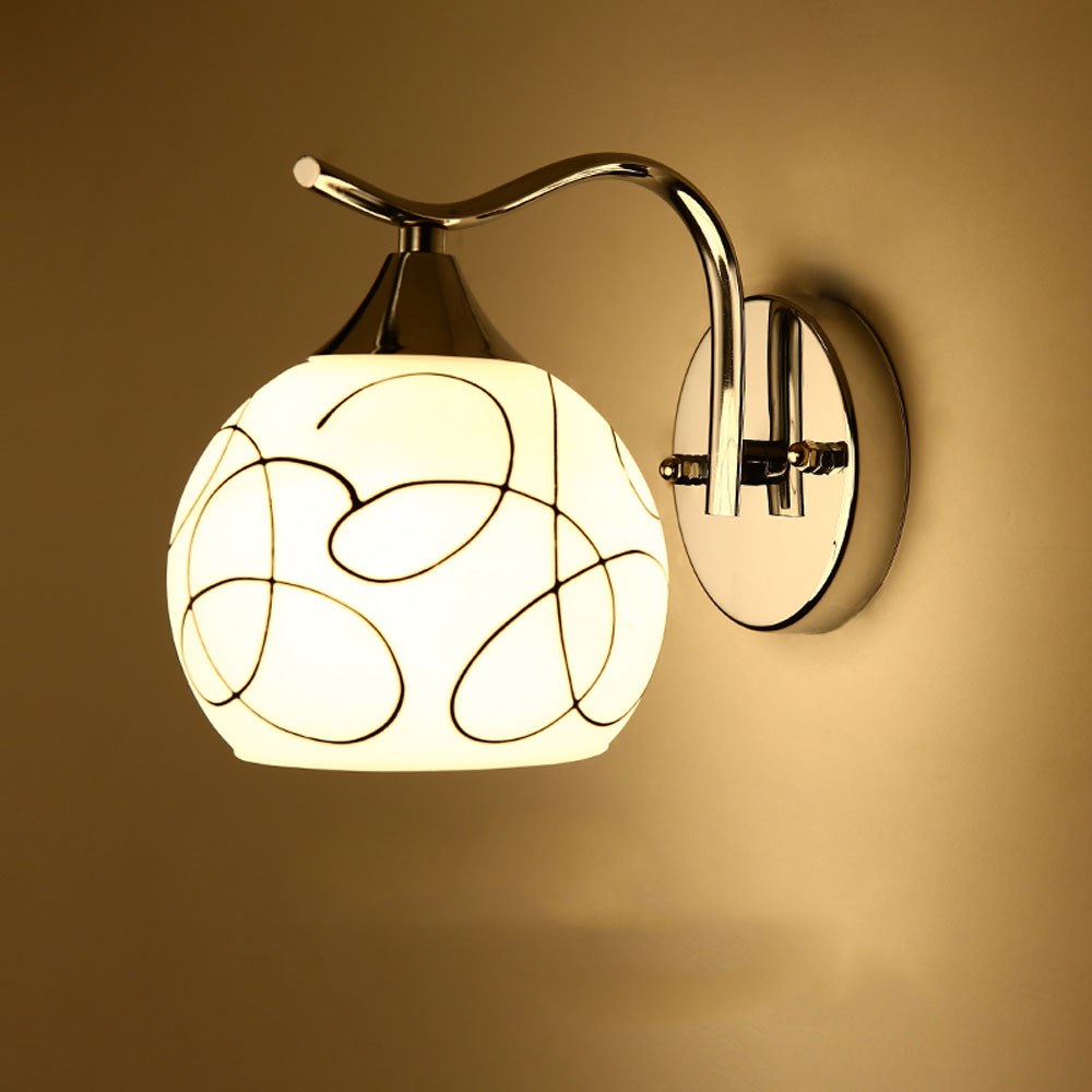 ФОТО LED Modern Wall Light 110v-220v E27 Wall Mounted Bedside Reading Lamps White Single Head Without Bulb Bedroom Wall Lights