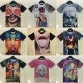 2015 mujeres del verano t shirt mujeres harajuku ropa recortada camiseta 3d mickey/nirvana impresión camisetas ropa camisetas y tops mujer