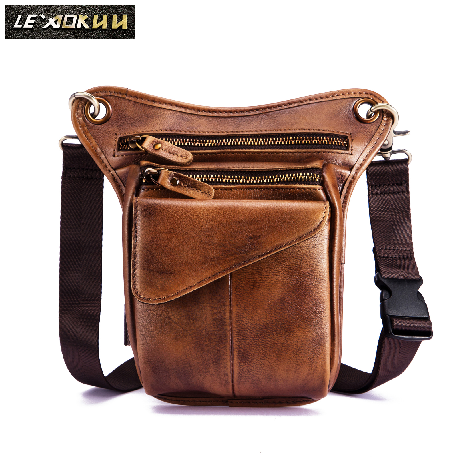Genuine Quality Leather Men Design Casual Sling One Shoulder Messenger Bag Fashion Fanny Waist Belt Pack Drop Leg Bag 211-3llb