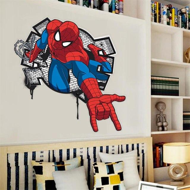 3D Superman Cartoon Spiderman Wall Decals PVC Wall Stickers Mural For Boysu0027  Room Decor Christmas Gift