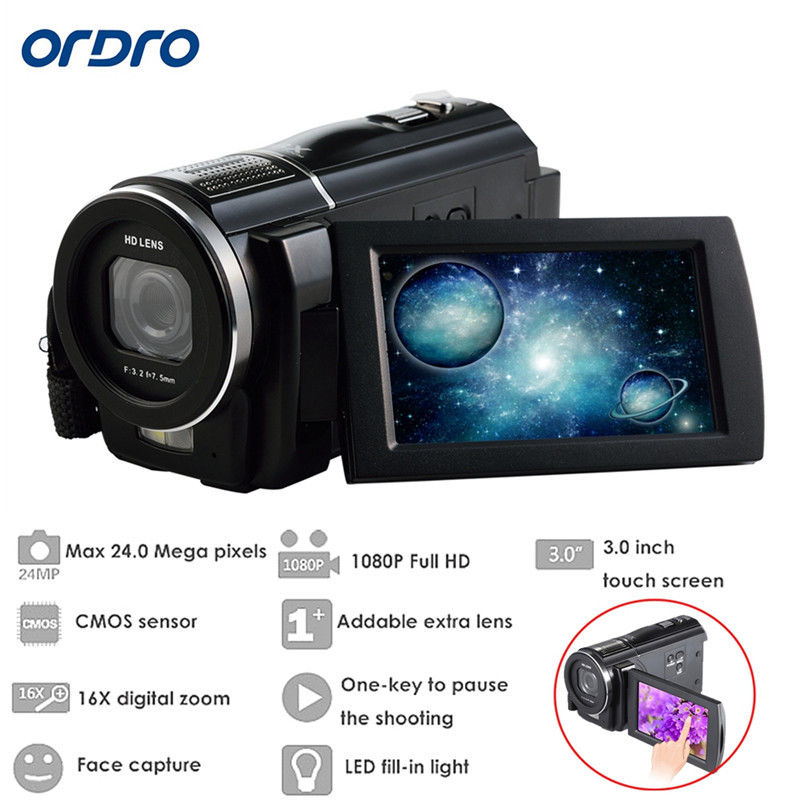 ORDRO HDV-F5 Full HD 1080P 16X Zoom 3Touch Digital Video Camera Camcorder DVR Free shipping winait electronic image stabilization hdv z8 digital video camera with recording function touch screen