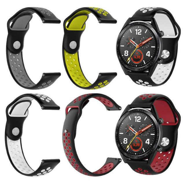 Double Color Rubber Watchband Fashion Silicone Replacement Strap Band for Huawei