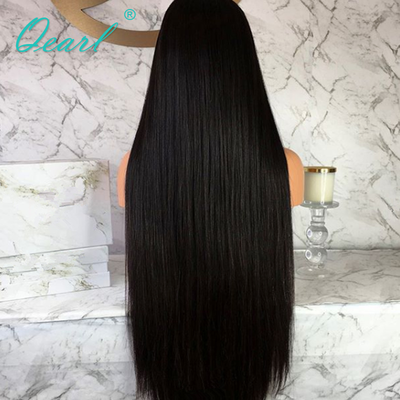 """Image 5 - Peruvian Remy Hair Lace Front Wig Super Long 24""""26""""28""""30""""32"""" Thickest Density Silky Straight Human Hair Middle Part 13x4 QearlHuman Hair Lace Wigs   -"""
