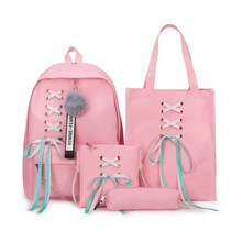 College Wind Girl Backpack 4Pcs/Set Bowknot Letter Canvas Backpacks Leisure Breathable And Wear Resistant Girls School