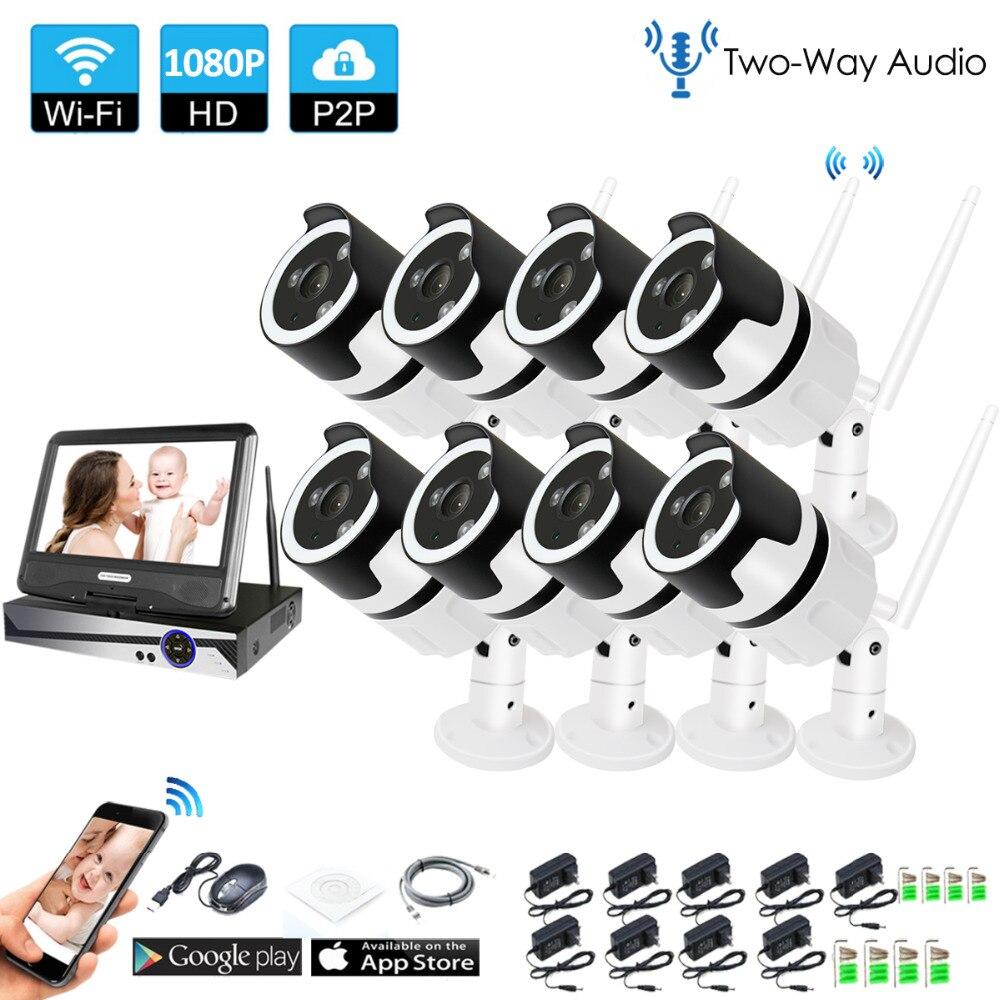 8CH с подкладкой аудио говорить HD Беспроводной LCDNVR комплект P2P 1080 P Крытый Открытый ИК Ночное Видение безопасности 2.0MP IP Камера WI-FI CCTV Системы