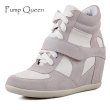 Size 34-41 Womens Casual Shoes High Top Wedge Suede Shoe For Woman 2016 Autumn Genuine Leather Ankle Boots Lace Up Zapatos Mujer