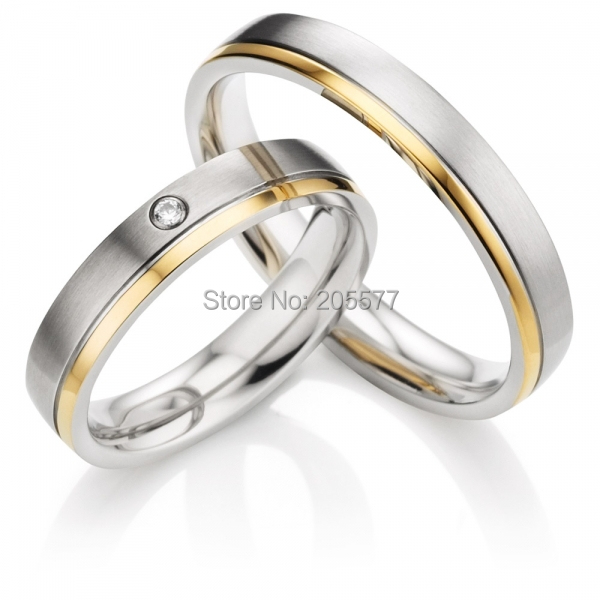Gold Plating Inlay Pure Titanium custom Couples Rings Sets For Engagment ,Anniversary Wedding anel feminino cheap pure titanium jewelry wholesale a lot of new design cheap pure titanium wedding band rings