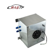 RASTP-High Quality Aluminum 30L Fuel Surge Tank Mirror Polish Cell with Cap/Foam Inside Sensor RS-OCC028