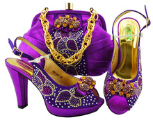 561aff49012 2018 african aso ebi wedding party shoe and bag in purple color new arrival  shoes and
