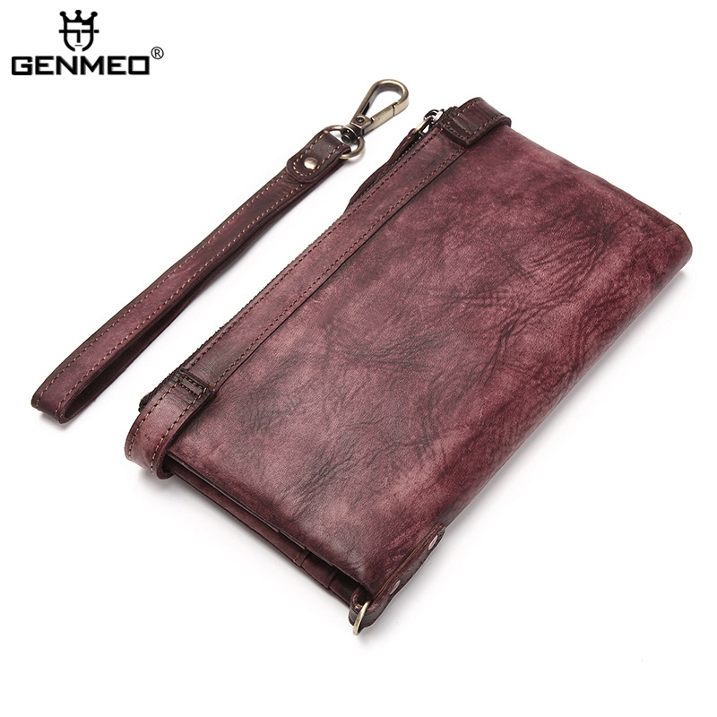 New Arrival Vintage Real Leather Wallet Men Business Genuine Leather Wallets with Card Holder Retro Cow Leather Purse Clutch Bag contact s cowhide genuine leather men wallets business purse with card holder vintage clutch wrist bag passport wallet 2018 hot