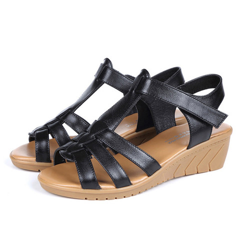 New Genuine Leather Women Sandals Women Summer Shoes Peep Toe Gladiator Sandals Wedges Oxford Shoes Woman Black White WSH3371 Lahore