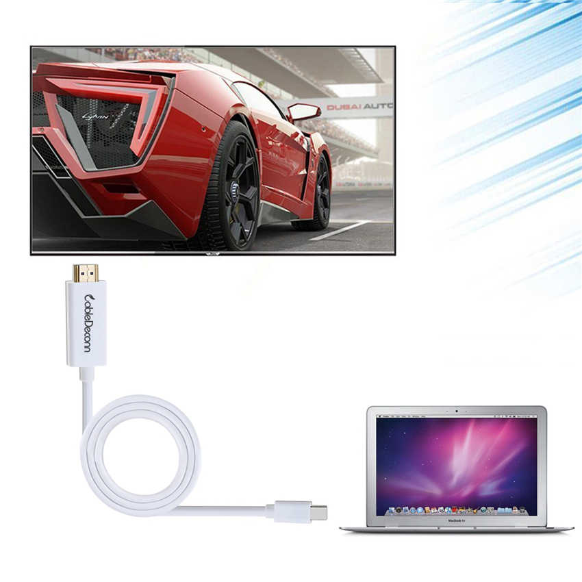 جهاز عرض صغير كابل وصلة بينية مُتعددة الوسائط وعالية الوضوح 1.8 متر لماك بوك برو العارض HDTV Mini DP ذكر إلى HDMI 4K ذكر محول
