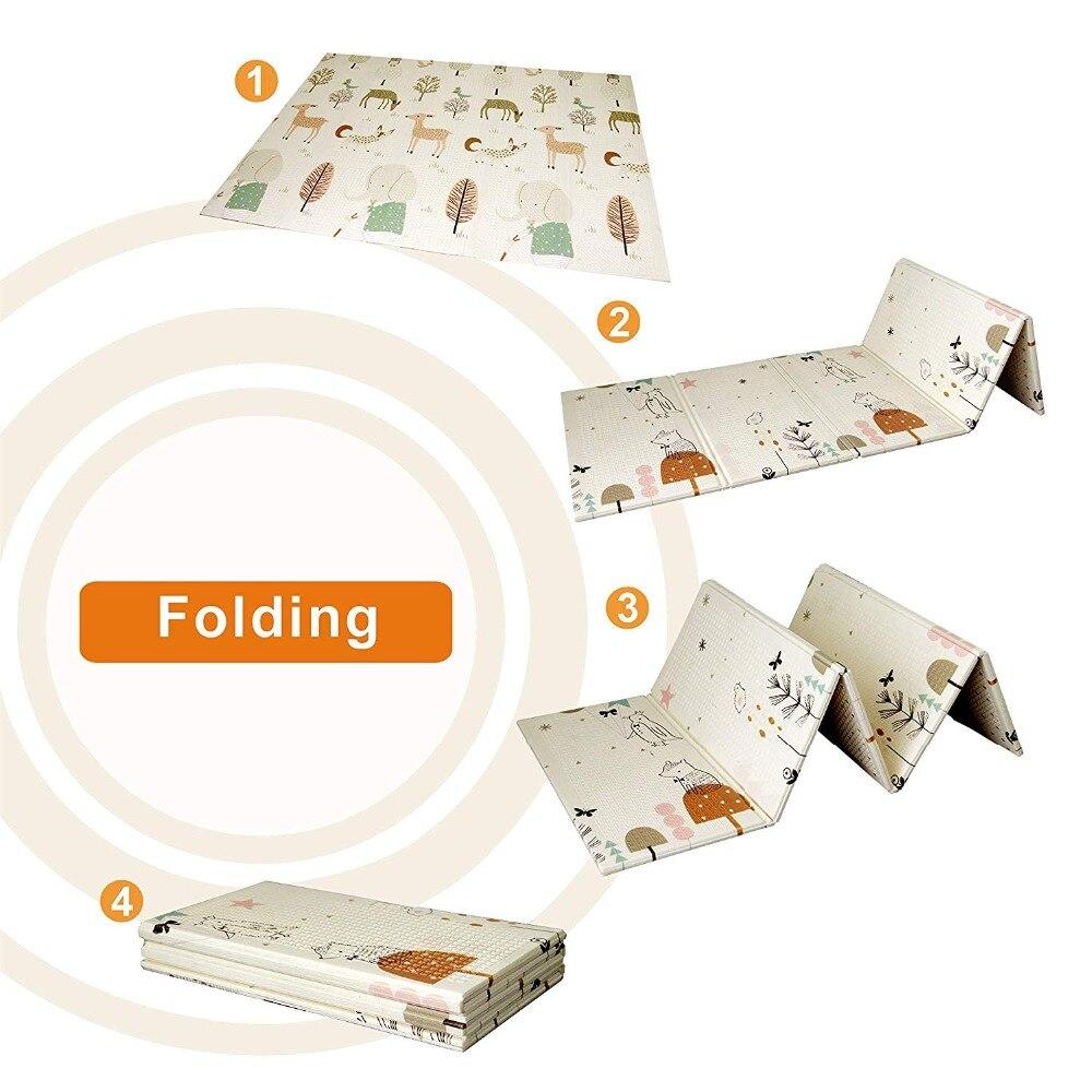 150*200*1 cm bébé bébé pliant tapis de jeu XPE pliable enfant ramper tapis imperméable antidérapant avec sac de transport 12 couleurs au choix - 2
