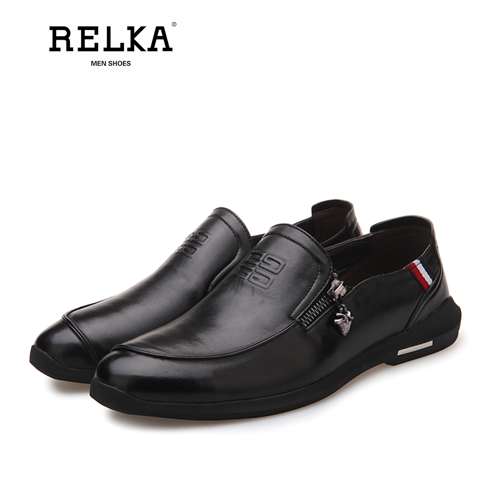 Alta Relka Brown Genuíno Clássicos Pé Sapatas Qualidade Handmade Casuais Dos Homens on Salto Sapatos P8 Do Sólida black Couro Slip De Dedo Redondo Luxo Baixo rYr0wg